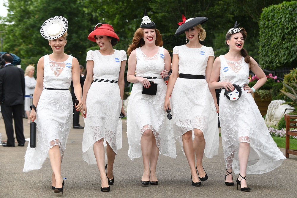 ASCOT, ENGLAND - JUNE 22: Racegoers attend Royal Ascot Ladies Day 2017 at Ascot Racecourse on June 22, 2017 in Ascot, England. (Photo by Stuart C. Wilson/Getty Images)