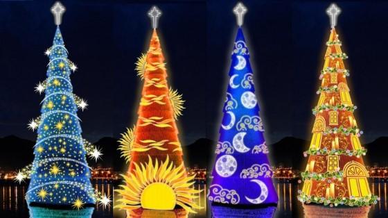Это самое большое рождественское дерево, его высота — 82 метра. Елка смонтирована на специальной плавучей платформе посредине озера в Лагоа. Каждый год елку украшают по-разному и устраивают световое шоу на различные темы. Так, например, на тему света, который проходит 4 стадии: от света в ночи, когда рождаются мечты, до рождественского исполнения желаний.