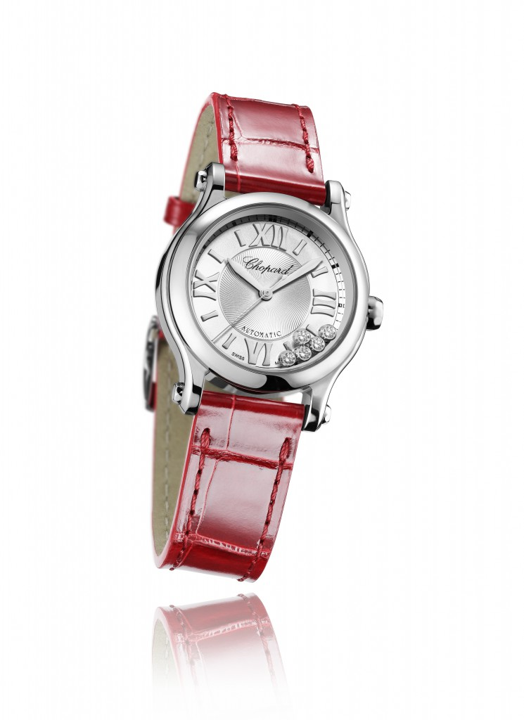 Chopard Happy Sport 30mm Automatic Ladies watch in stainless steel featuring five moving diamonds and a red alligator strap - £ 4,140