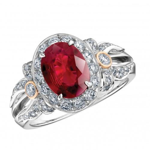 Кольцо ALIX от FABERG в белом золоте с овальным рубином, цена по запросу.