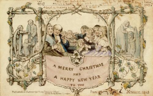 Первая коммерческая поздравительная открытка в Великобритании была выпущена Генри Коулом и Джоном Хорсли тиражом 1000 экземпляров. Каждая открытка была разукрашена вручную, и ее сюжет вызвал серьезные разногласия в обществе, так как там нарисован ребенок, пьющий вместе со взрослыми вино. Несмотря на скандал, именно благодаря Генри Коулу в Великобритании зародилась традиция пользования почтовым сервисом для рассылки поздравлений. В этом году открытка была переиздана и ее можно купить в магазинах Великобритании.