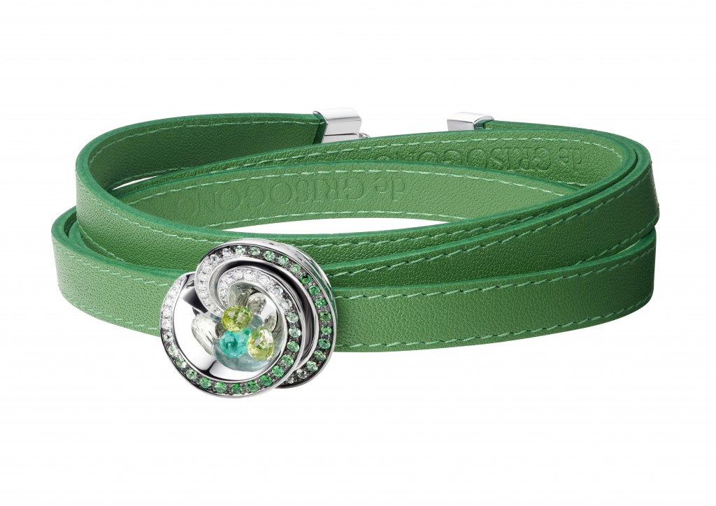 de Grisogono Chiocciolina Bracelet - White Gold, White Diamonds, Tsavorite, Emerald, Peridot on a Green Leather Strap, £11,200