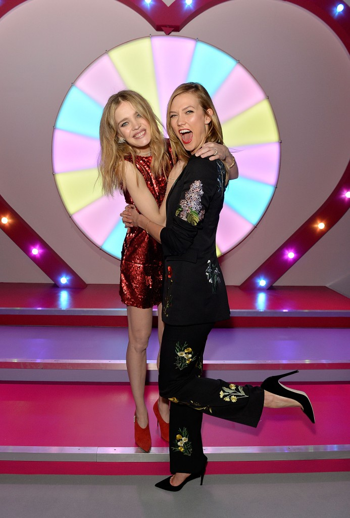 LONDON, ENGLAND - FEBRUARY 20: Natalia Vodianova (L) and Karlie Kloss at The Naked Heart Foundation's Fabulous Fund Fair in London at Old Billingsgate Market on February 20, 2016 in London, England. (Photo by David M. Benett/Dave Benett / Getty Images for The Naked Heart Foundation) *** Local Caption *** Natalia Vodianova; Karlie Kloss