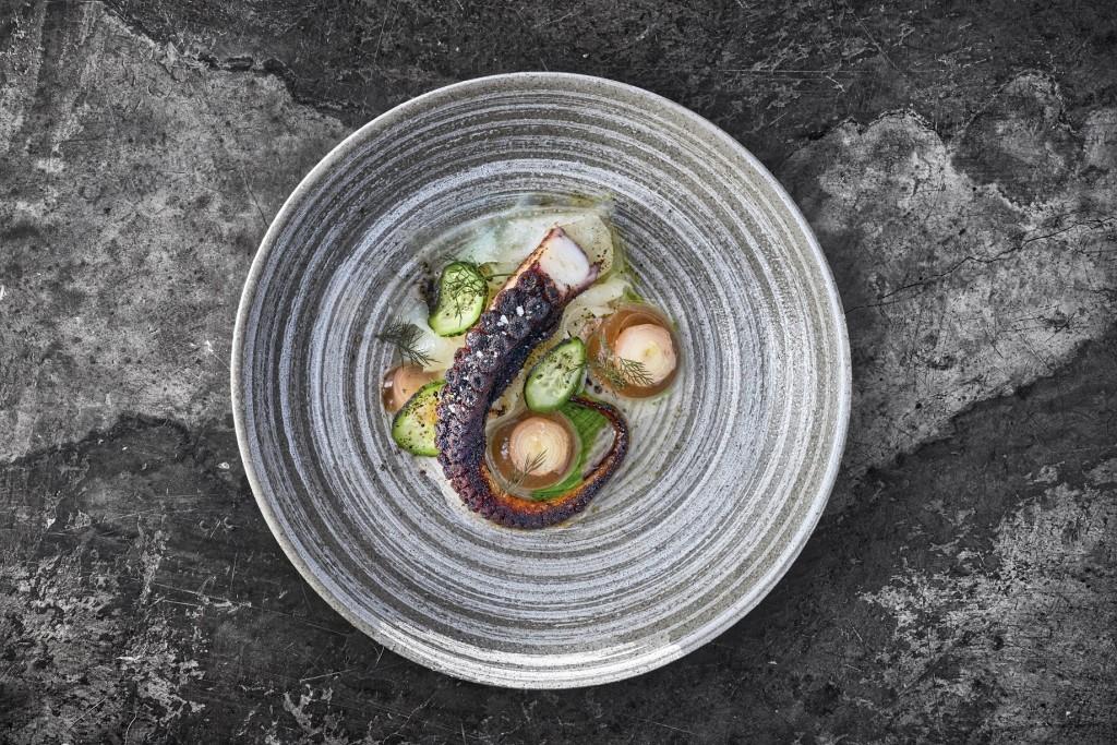 Octopus, black garlic, harisa