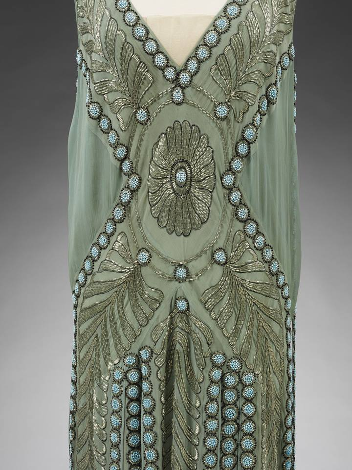 Detail of silk georgette and glass beaded 'Salambo' dress, Jeanne Lanvin, Paris, 1925. Previously owned by Miss Emilie Grigsby. Given by Lord Southborough © Victoria and Albert Museum, London