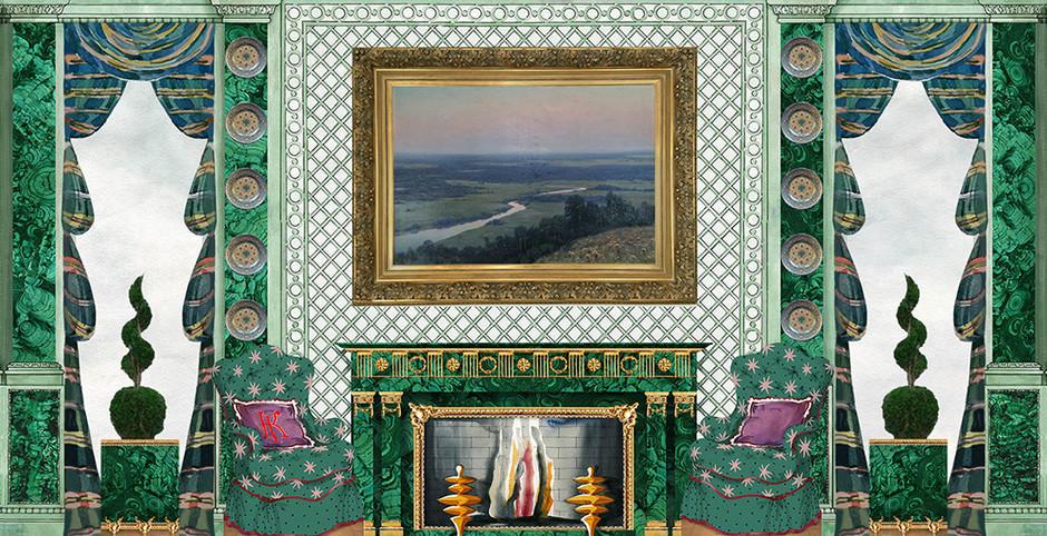 Эскиз салона, выполненный декоратором Кириллом Истоминым