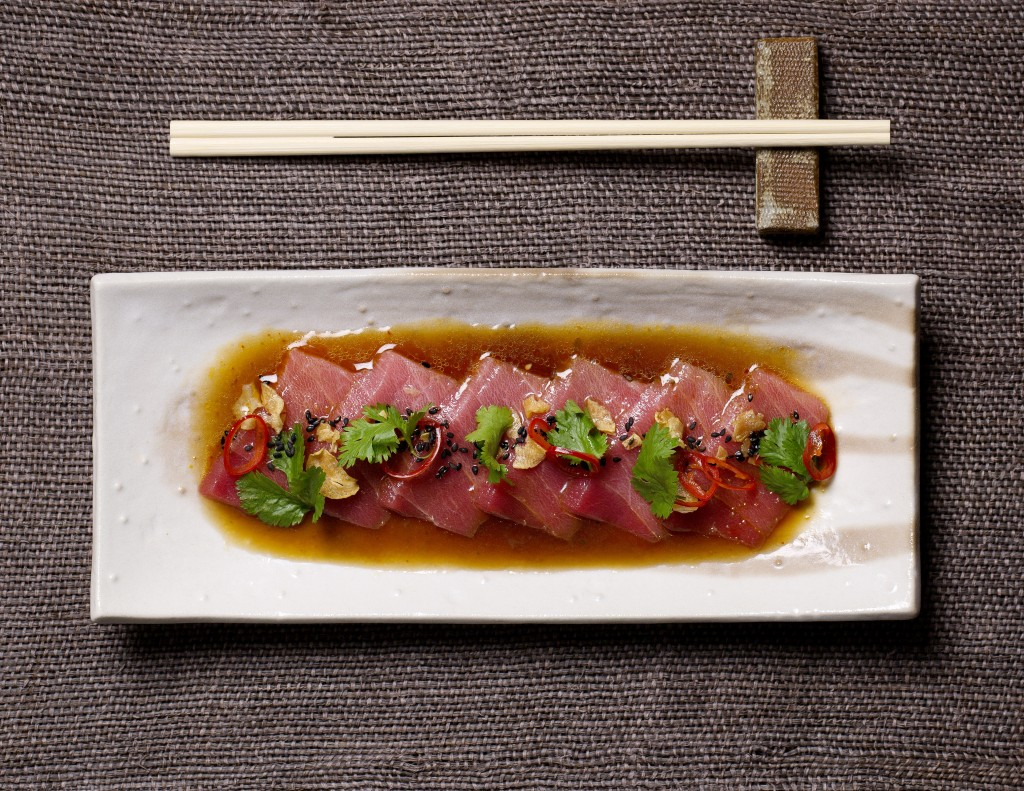thinly sliced semi fatty tuna, chilli, coriander and sesame - chu toro no oasashimi kousou fuumi