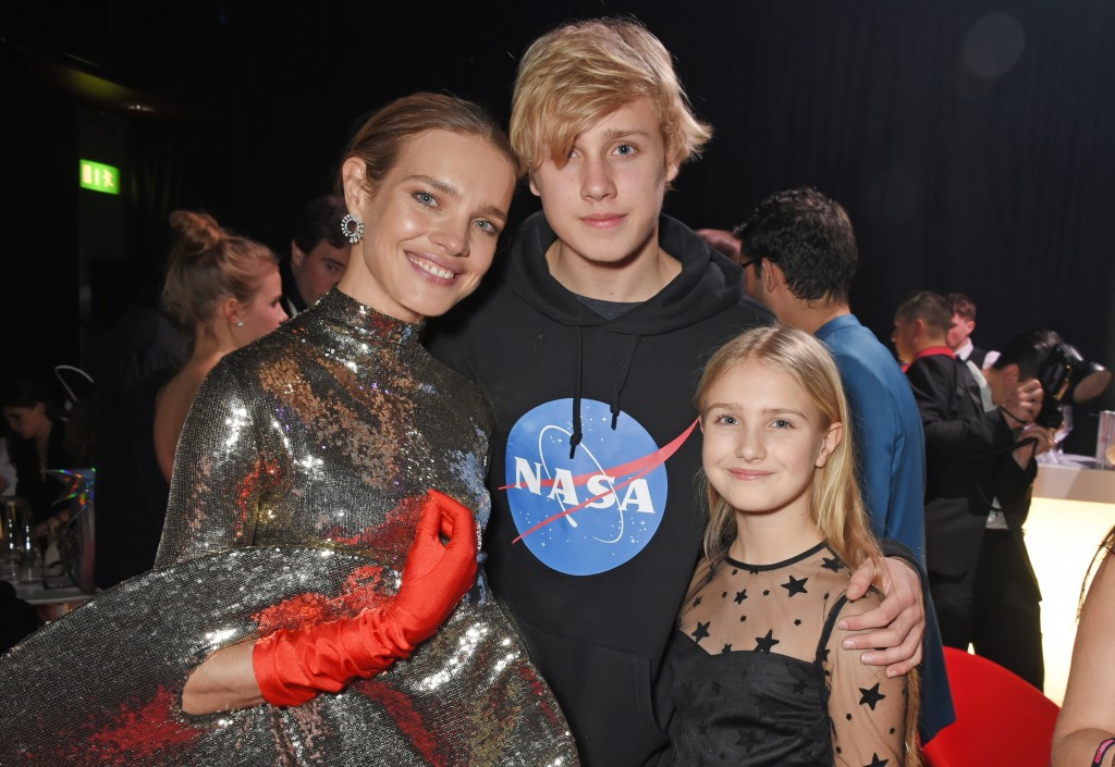 LONDON, ENGLAND - FEBRUARY 20: (L to R) Natalia Vodianova poses with her children Lucas Portman and Neva Portman at the Naked Heart Foundation's Fabulous Fund Fair at The Roundhouse on February 20, 2018 in London, England. Pic Credit: Dave Benett