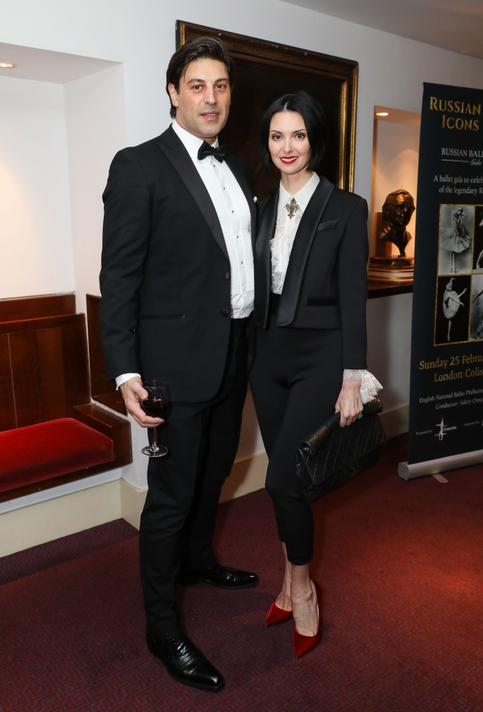 LONDON, ENGLAND - FEBRUARY 25: Yannis Frangullus, and Olga Stepanenko attend the Russian Ballet Icons Gala 2018 at London Coliseum on February 25, 2018 in London, England. (Photo by David M. Benett/Dave Benett/Getty Images for Ensemble Productions)
