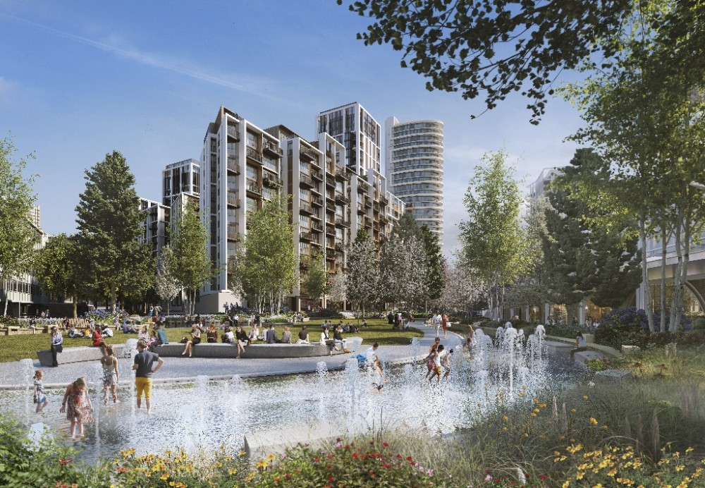 CGI of Spring Garden - View of water play area