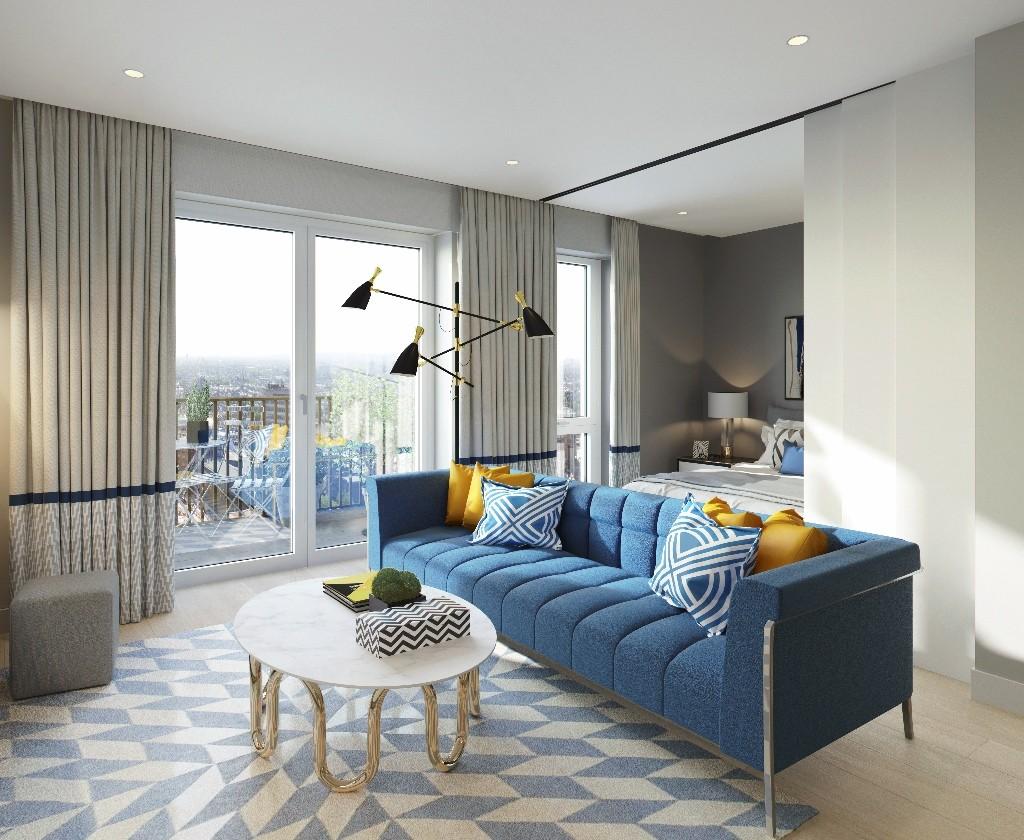 CGI of White City Studio - Living Room - Viewpoint 02