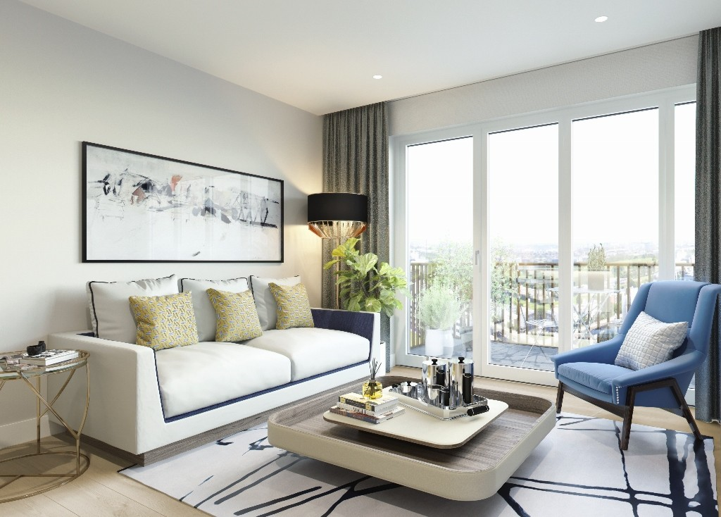CGI of White City 2 Bed Apartment Living Room - Viewpoint 02